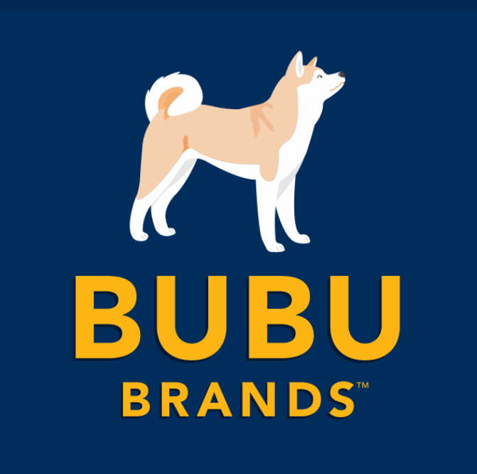 A norweign buhund dog on a dark background with bright lettering saying bubu brands | Bubu Brands