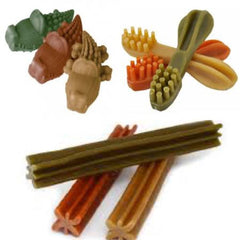 What to Give Your Dog to Help Clean Their Teeth| Multiple different dog chews in red, green and beige | Bubu Brands