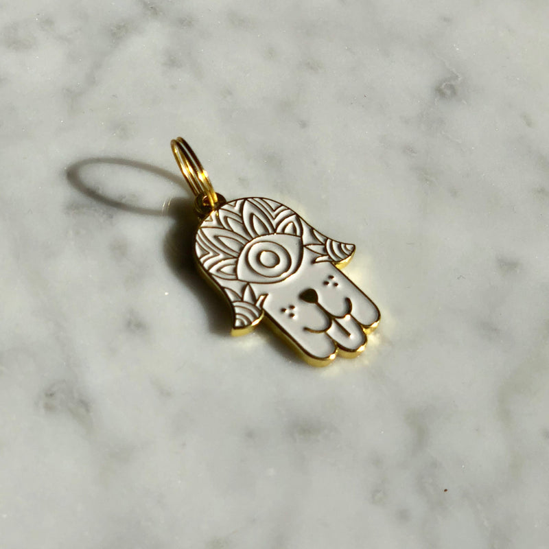 Dog Hamsa</br>Enamel Charm</br>Not Engraved</br>White - BUBU BRANDS