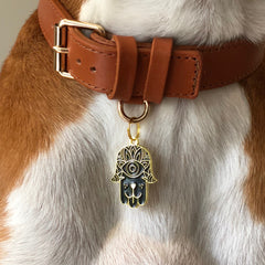 Dog Hamsa</br>Enamel Charm/ID Tag</br>Engraved</br>Black - BUBU BRANDS