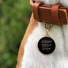 High End Dog Tag</br>Adopt Don't Shop</br>Engraved</br>Black - BUBU BRANDS