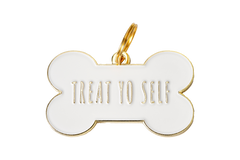 Treat Yo Self</br>Enamel Charm/ID Tag</br>Engraved</br>White - BUBU BRANDS
