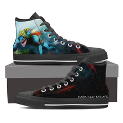 Dark Reef Escape Mens Canvas Print High Top Black/White - Freakybox