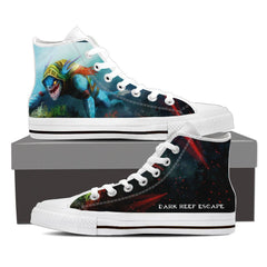 Dark Reef Escape Womens Canvas Print High Top Black/White - Freakybox