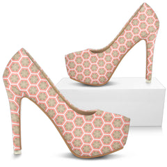White Gold over Salmon Pink High Heels