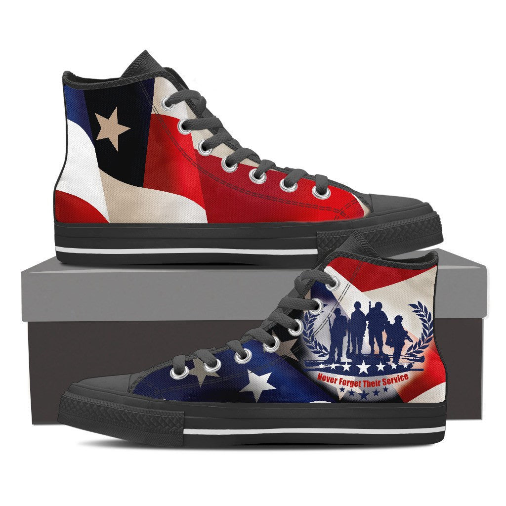 VETERANS - NEVER FORGET THEIR SERVICE High Top Canvas Shoe Black/White - Freakybox