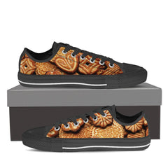 BAKERY LOVERS Womens Canvas Print Low Top Black/White