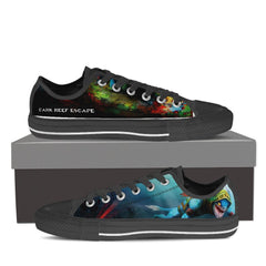 Dark Reef Escape MENS Canvas Print Low Top Black/White - Freakybox