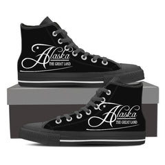 ALASKA - THE GREAT LAND Womens Canvas Print High Top Black/White