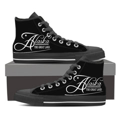 ALASKA - THE GREAT LAND Canvas Print High Top Black/White - Freakybox
