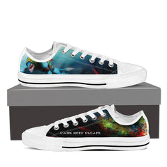Dark Reef Escape Womens Canvas Print Low Top Black/White - Freakybox