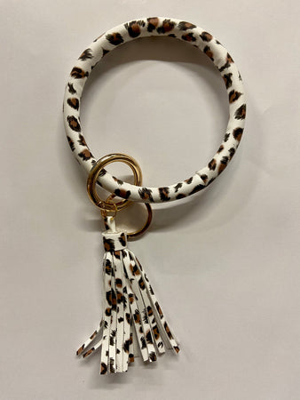 White Leopard Wrapped 'O' Keyring