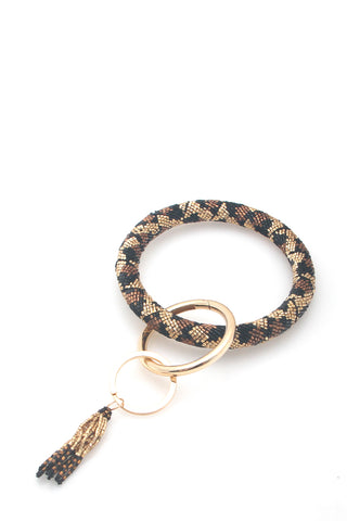 Leopard Beaded Key Ring