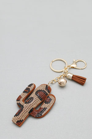 Leopard Cactus Keychain