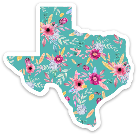 Texas Teal Floral Sticker