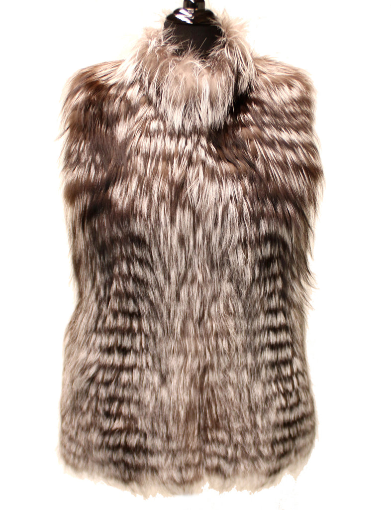 "27"" Natural Horizontal Silver Feathered Fox Drawstring Waist Vest 1044"