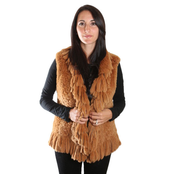 20inch Knitted Brown Fringe Trim Natural Rex Fur Vest 1049