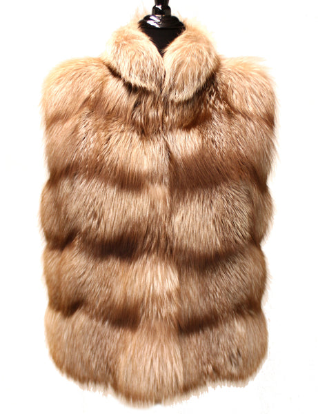 "24"" Beige Fox Fur Horizontal Vest Stand Up Collar 1071"