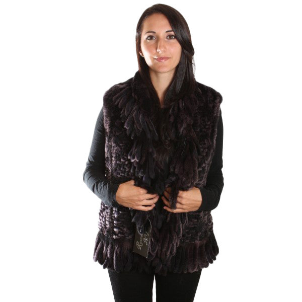 "20"" Knitted Natural Rex Fur Vest Fringes 1085"