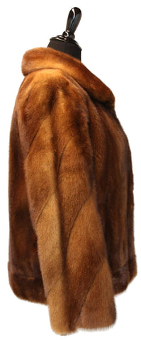 "25"" Whiskey Mink Jacket, Directional Sleeves, Border at Hem  #109"