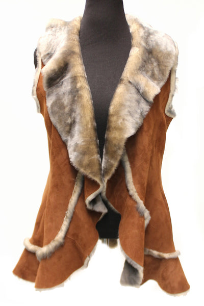 30'' Brown Shearling Vest Frill V Neckline Medium 1133