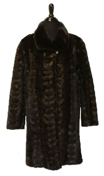 "37"" Brown Grooved Sculptured Mink Sections Stroller, Round Collar, Straight Sleeves, Rhinestone Trim at Sleeves #1163"