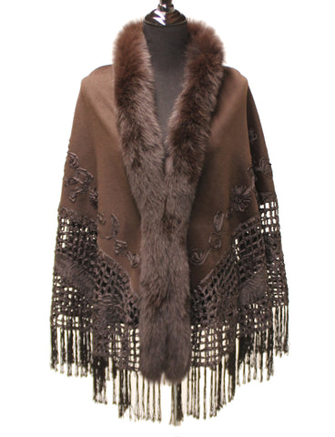 30'' Brown Cashmere Shawl Fox Fronts Silk Pattern Tassel Fringes Hemline 1210