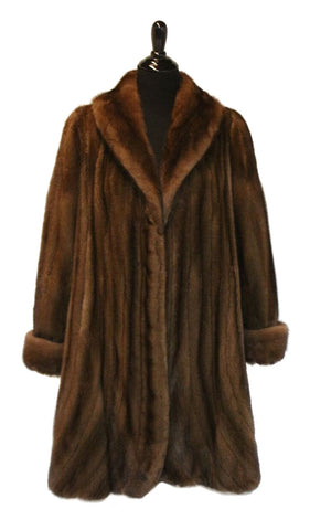 "38"" Demi Buff (Female) Mink Stroller, Shawl Collar, Double Fur Turn Back Cuffs, Rounded Fronts, Fluted Bottom #1739"