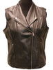 "23"" Black Leather Vest Biker Style XXL V Neckline Zipper Pockets 1336"