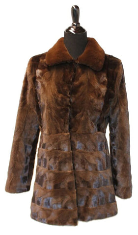 "30"" Brown Mink Sections Jacket  with Solid Sheared Mink Collar, Fitted Body, with Horizontal Bottom"