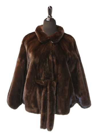 "26"" Brown Mahogany Mink Cape Jacket with Fur Belt #1417"