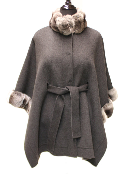33'' Wool Cashmere Poncho Chinchila Trim Collar Cuffs 1493