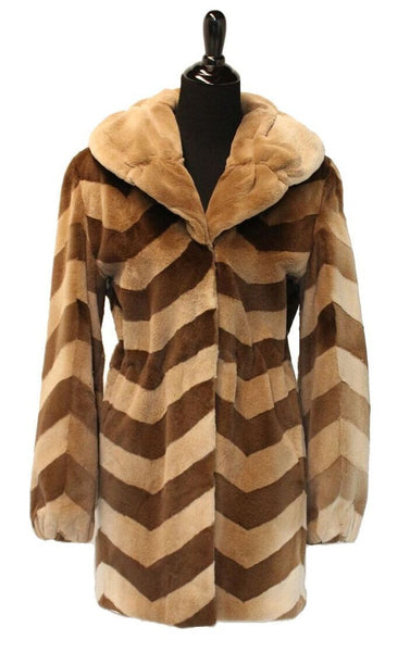 "33"" Natural Sheared Mink Camel and Brown Chevron Jacket with Gathered Shawl Collar  175"
