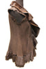 "29"" Textured Brown Shearling Vest Frill Double Collar Medium 1763"