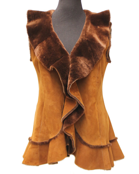 "29"" Camel Textured Brown Shearling Vest Frill Caramel Medium 1764"