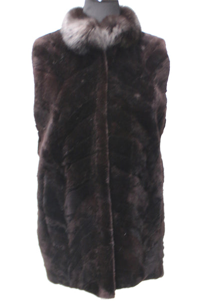 "29"" Dark Brown Sheared Beaver Sections Vest Black Fox Stand Collar 1847"