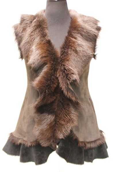 "29"" Brown Frill Vest Brown Toscanna Trim Tone Medium Solid Pattern"