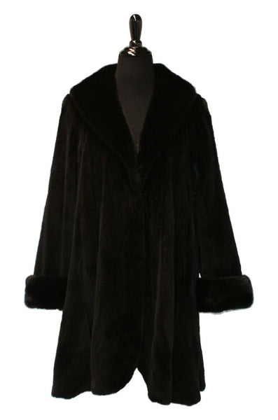 "36"" Black Sheared Mink Let- Out Stroller with Long Hair Ranch Mink Shawl Collar and Double Fur Turn Back Cuffs.  Round Fronts, Fluted Bottom #1874"