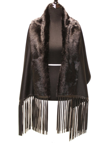 20'' Black Cashmere Wrap Full Skin Mink Detail Leather Fringes 1892