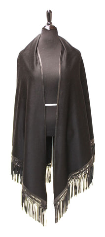Black Cashmere Cape with Leather Border and Tassel Fringes #1893