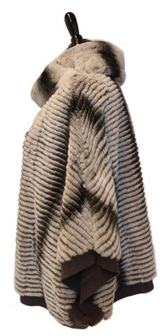 "26"" Dyed Ambre Rex Rabbit Stripes Poncho on Grey Wool Knit #1894"