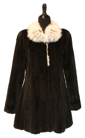 "33"" Black Sheared Mink with Natural Lynx Wing Collar, Straight Sleeves, Fitted Body, Flared Bottom #1898"
