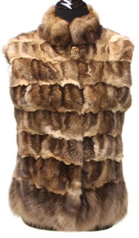 "23"" Brown Sable Horizontal Stripes Fur Vest Slit Pockets 1960"