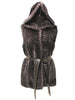 "29"" Black Grey Popcorn Hooded Vest Leather belt"