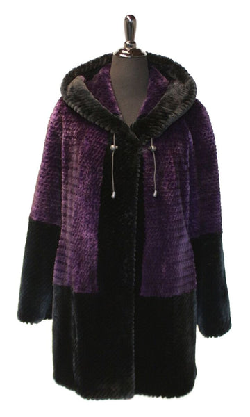 "35"" Purple/Black Carved Sheared Beaver Stroller with Permanent Hood, Drawstring at Hood"