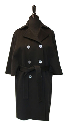 "38"" Black Cashmere Cape Coat, Belted, Notch Collar, Double Breasted with Buttons #2072"