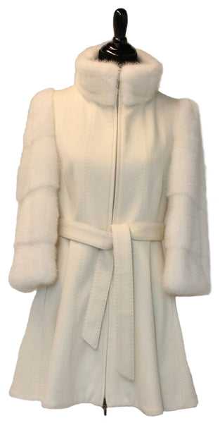 "33"" Cream White Cashmere Fitted Jacket with Mink Sleeves and Stand Collar, Zipper Front, with Cashmere Belt # 2073"