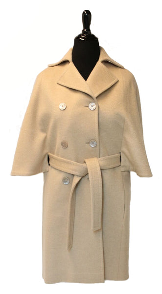 "38"" Camel Cashmere Cape Coat, Belted, Notch Collar, Double Breasted with Buttons #2074"