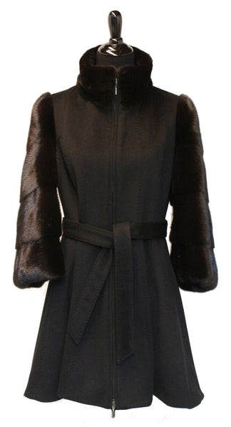 "33"" Black Cashmere Fitted Jacket with Mink Sleeves and Stand Collar, Zipper Front, with Cashmere Belt # 2077"