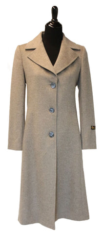 "43"" Beige Cashmere Coat, Notch Collar, Semi Fitted With Cashmere Belt  #2078"